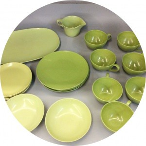 Avocado green melamine dishes