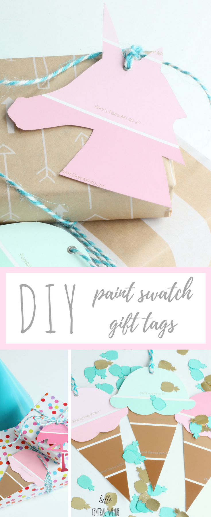 Use paint swatches to create cute and colorful gift tags for any occasion!