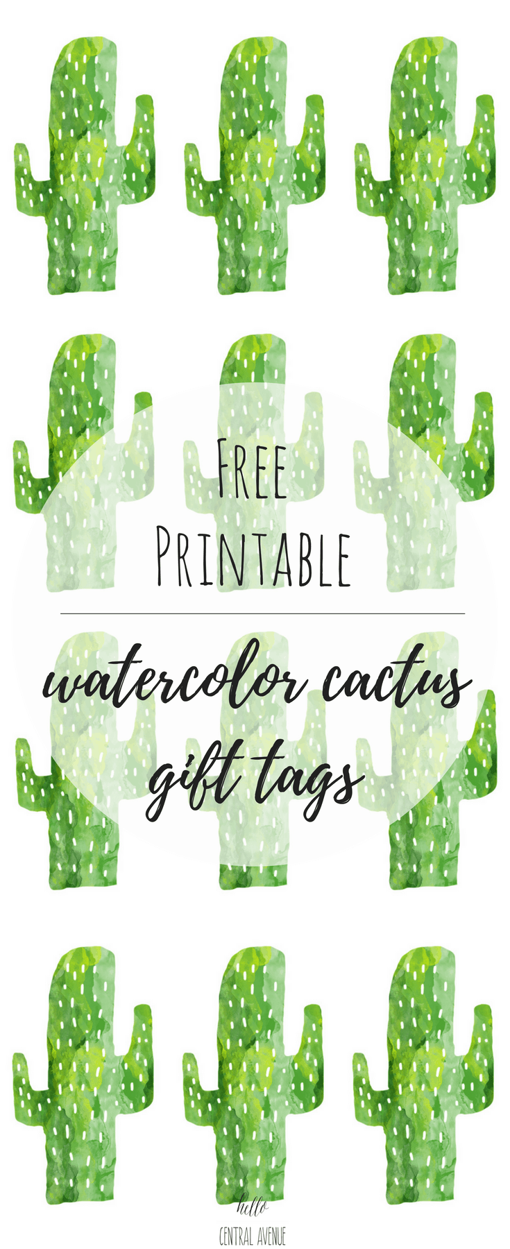 Free watercolor cacti gift tags