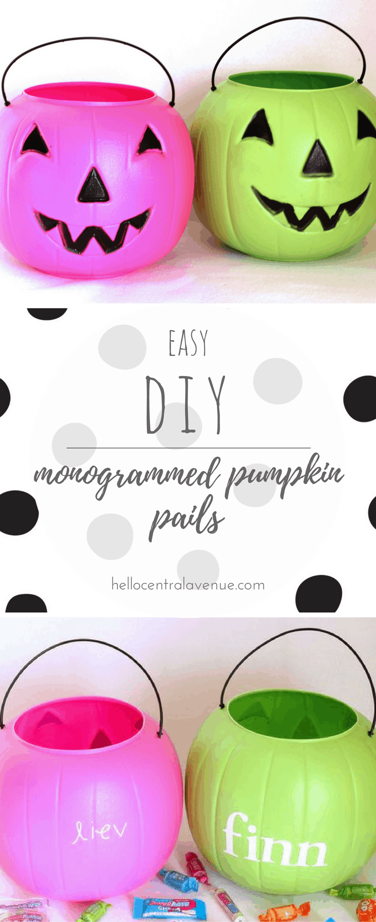 DIY Easy Monogramed Pumpkin Pails for Halloween