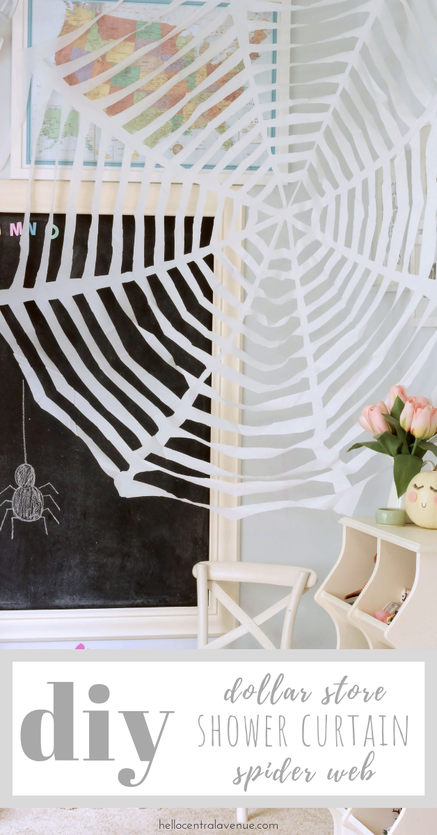 If you are looking for cheap Halloween decor, check out my DIY dollar store shower curtain spider web! These inexpensive shower curtains make huge spider webs!