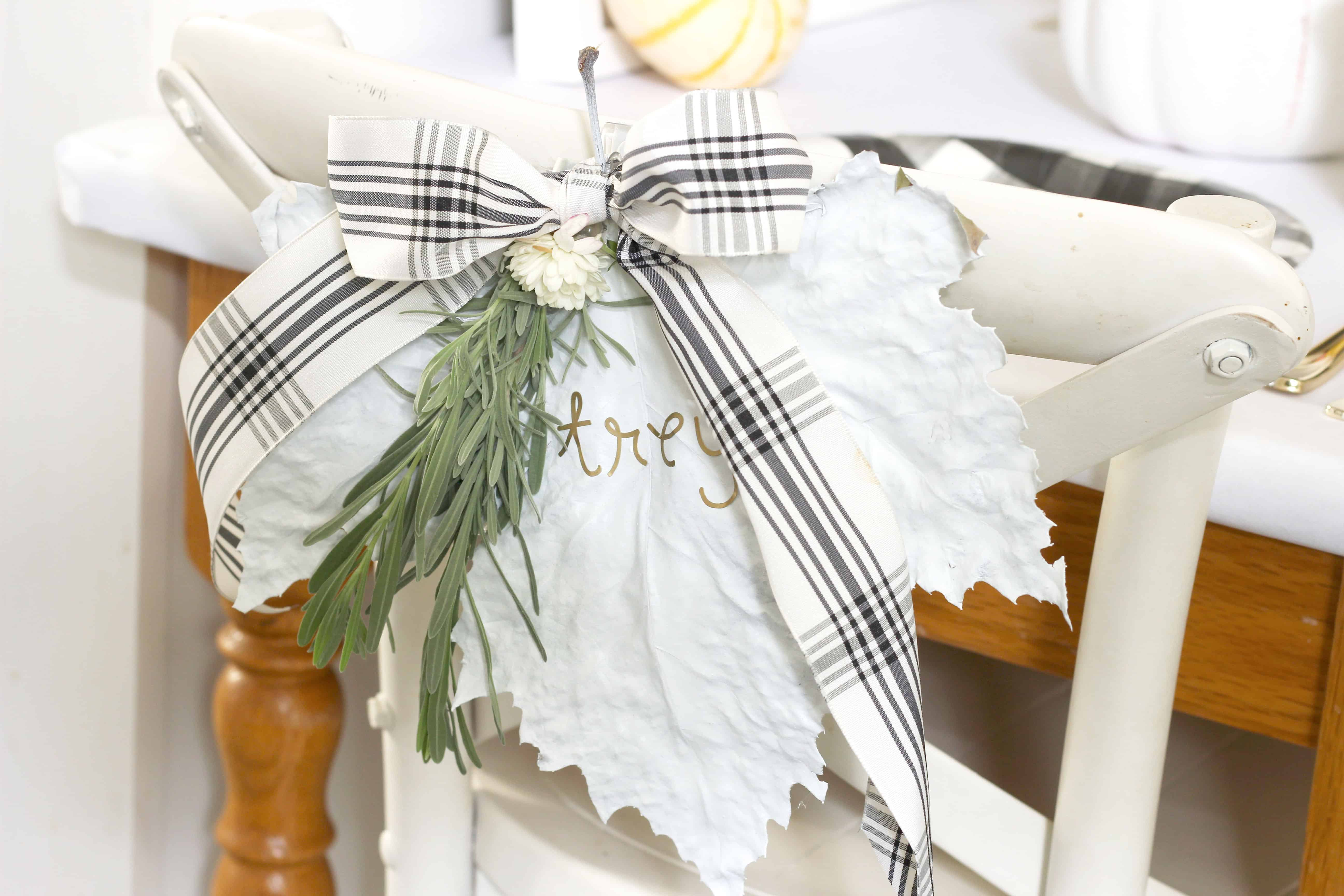 DIY Leaf Chairback placeholders perfect for Thanksgiving table