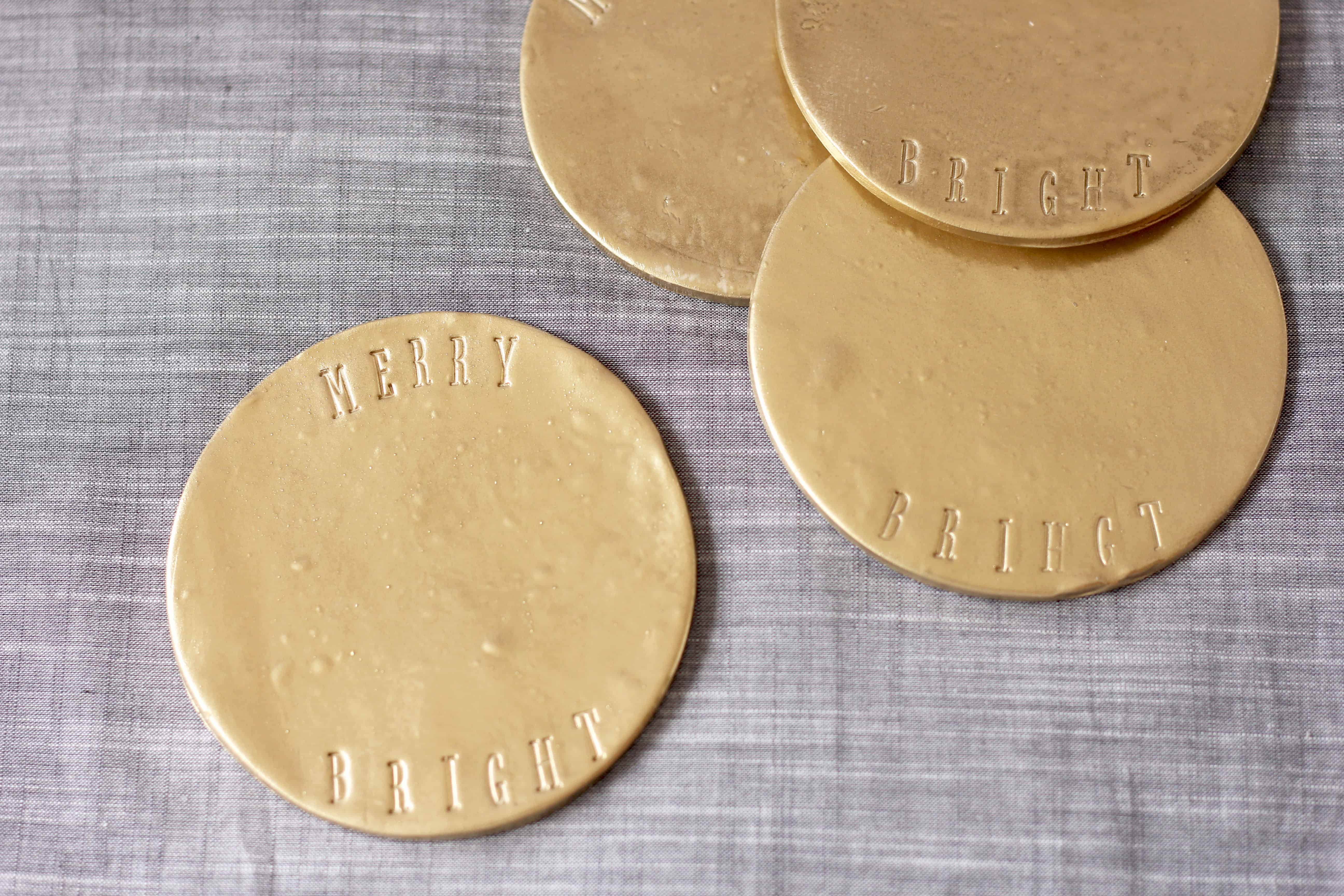 Knock off hearth and hand with magnolia by target brass coaters-gold holiday coasters