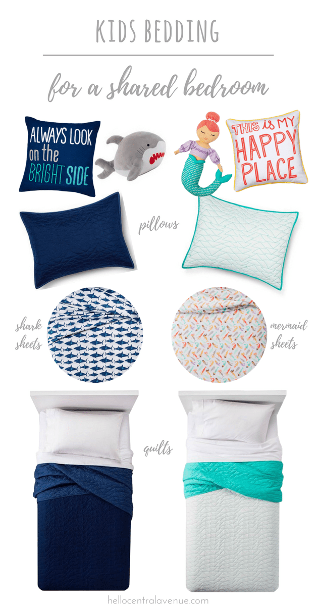 Kids bedding from Target for a shared bedroom for a boy and girl