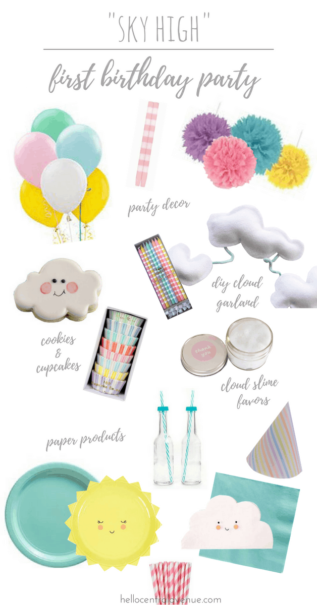 Sky High First Birthday Party-clouds, suns, colorful decor