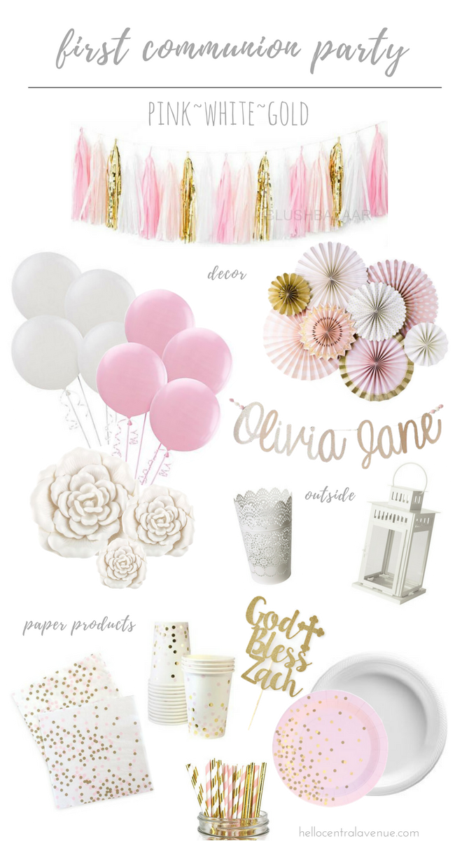 Add pink and gold to a first communion party color scheme for a little modern update.