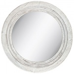 White distressed round wooden wall mirror from Hobby Lobby to hang above the changing table