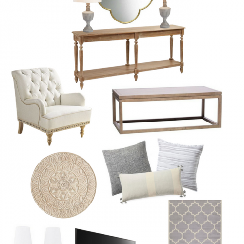 Vision board for a living room refresh using grays, ivory, and natural wood. This board is meant to create a light and classic space.