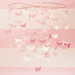 Pink paper butterfly mobile to hang above the changing table