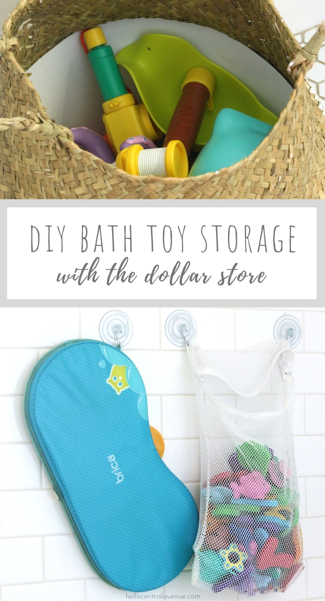 Before bath toys begin to take over your bathroom, try out these DIY bath toy storage ideas using the Dollar Store! These are simple ways to keep your bath toy clutter at bay, and they are obviously cheap!