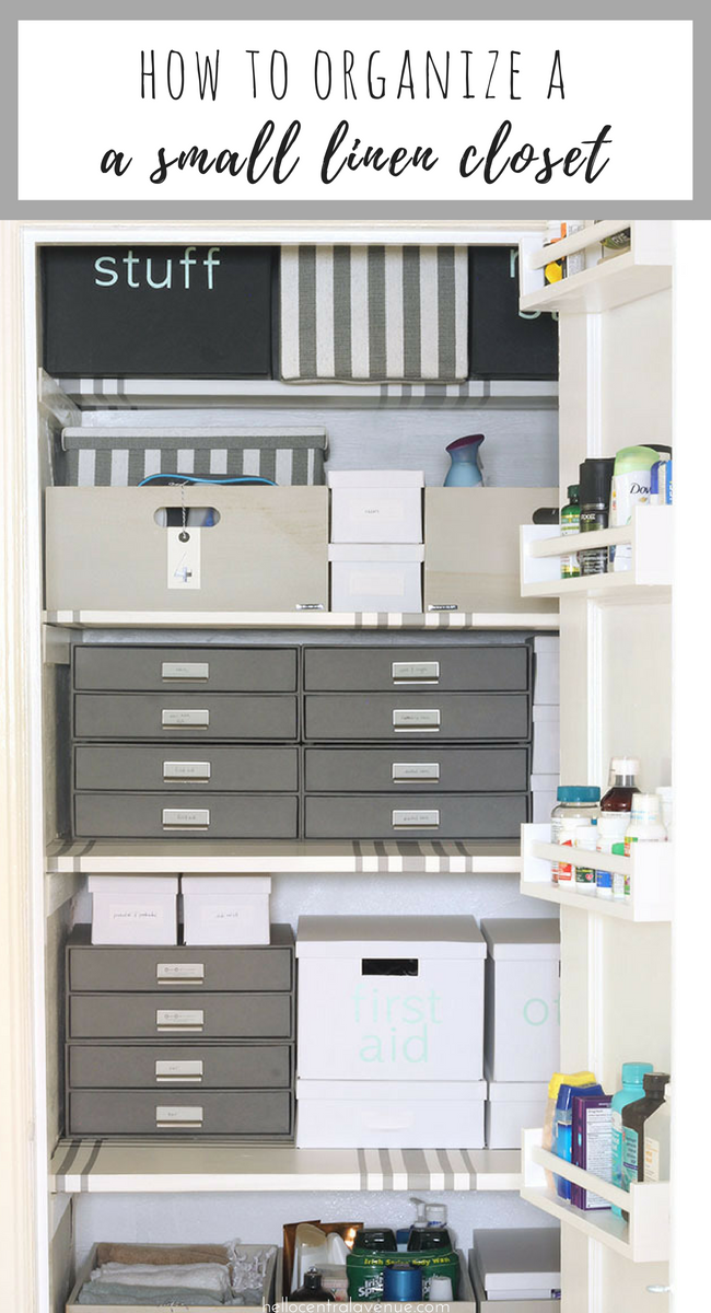 Use storage bins and DIY labels to organize a small linen closet!
