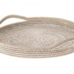 La Jolla round rattan serving tray