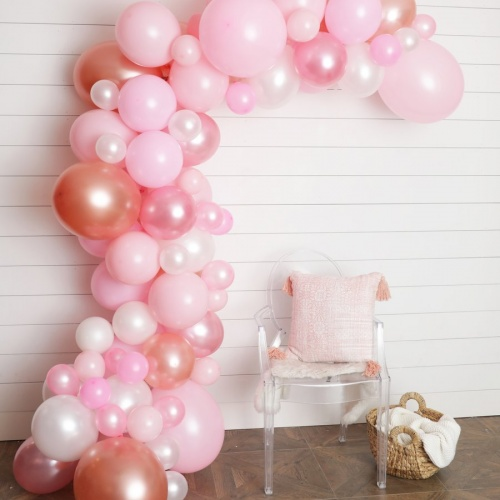 UNIBEL Balloon Arch & Garland Kit | 90 Pink, Blush, Rose Gold & White Sm to Xlrge balloons | Glue Dots | 17' Decorating Strip | Wedding, Baby Shower, Graduation, Anniversary Organic Party Decoration