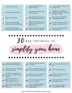 Simplify your home with this FREE 30 day checklist to start decluttering and organizing!