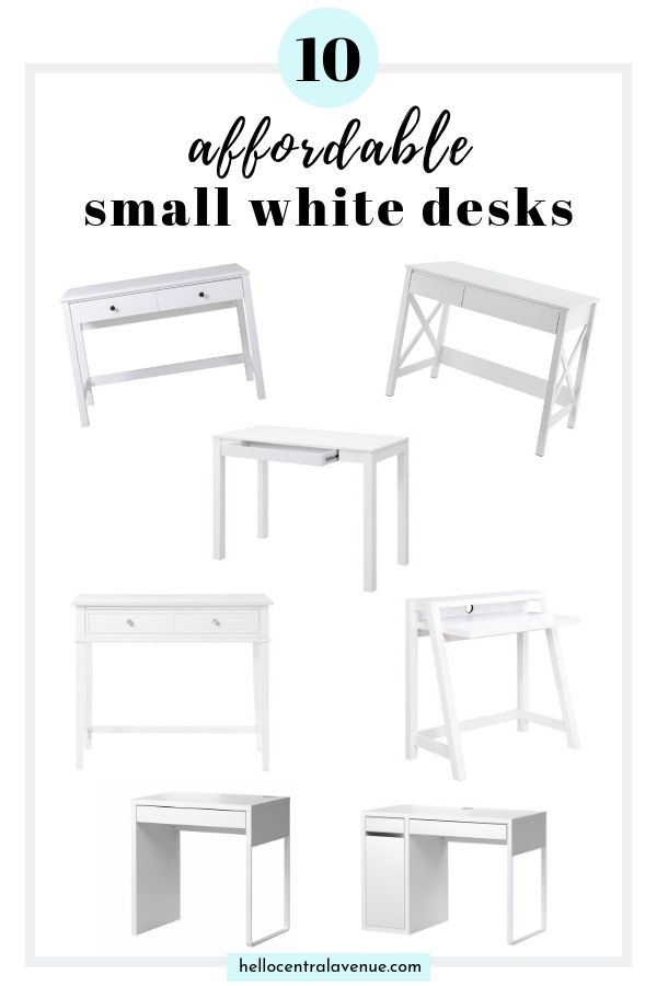 A small white desk is the perfect way to create a tiny office nook in any room of your house!