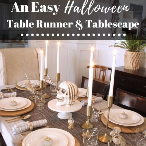 Easy Halloween Table Runner & Tablescape