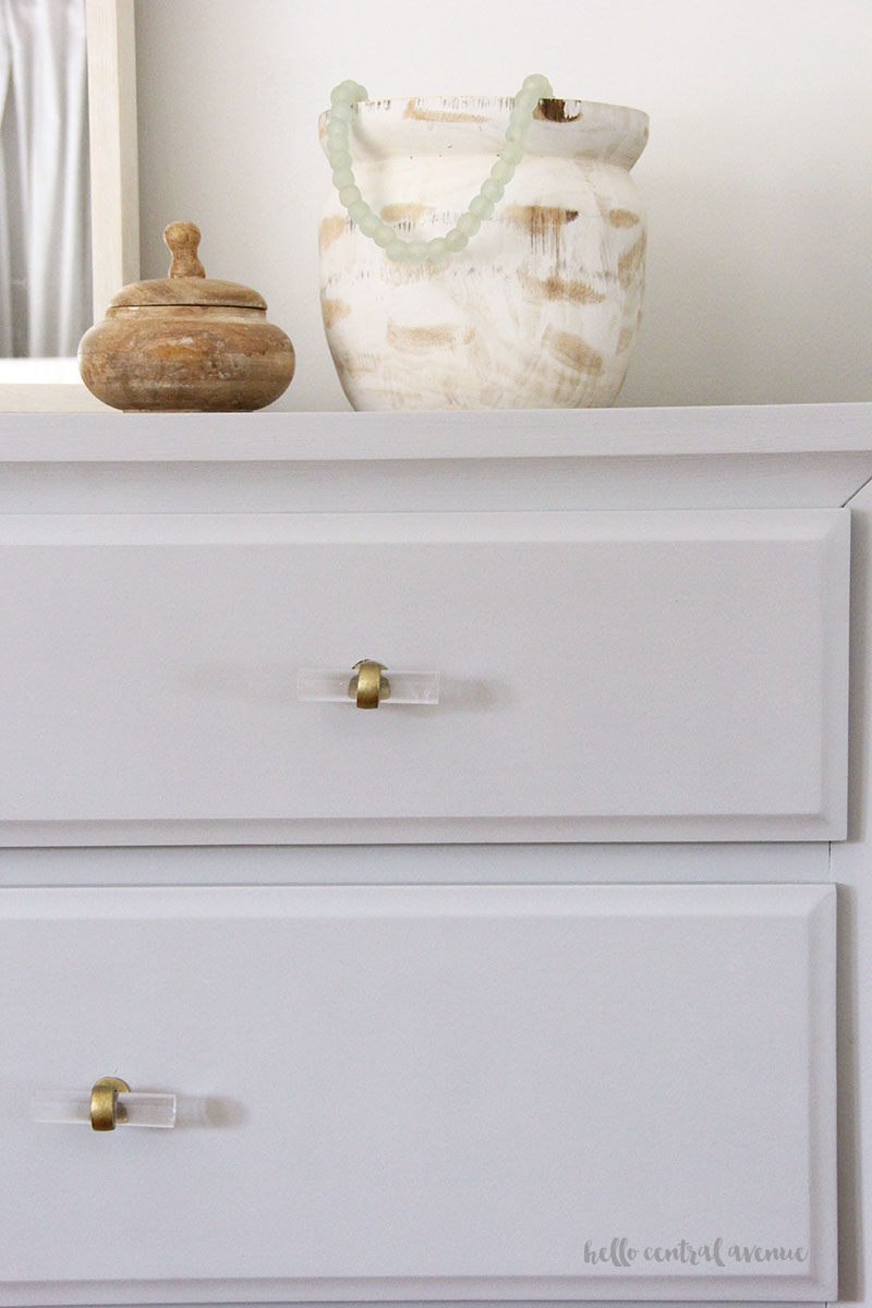 One Room Challenge Week 3 An Affordable Gold Curtain Rod Acrylic Drawer Pulls Hello Central Avenue