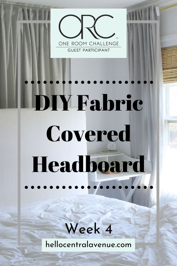 Use a curtain to make a DIY fabric covered headboard and update your outdated bedroom furniture!
