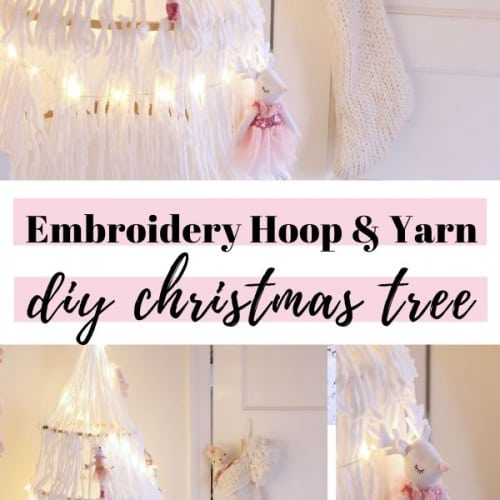 An Embroidery Hoop & Yarn DIY Christmas Tree