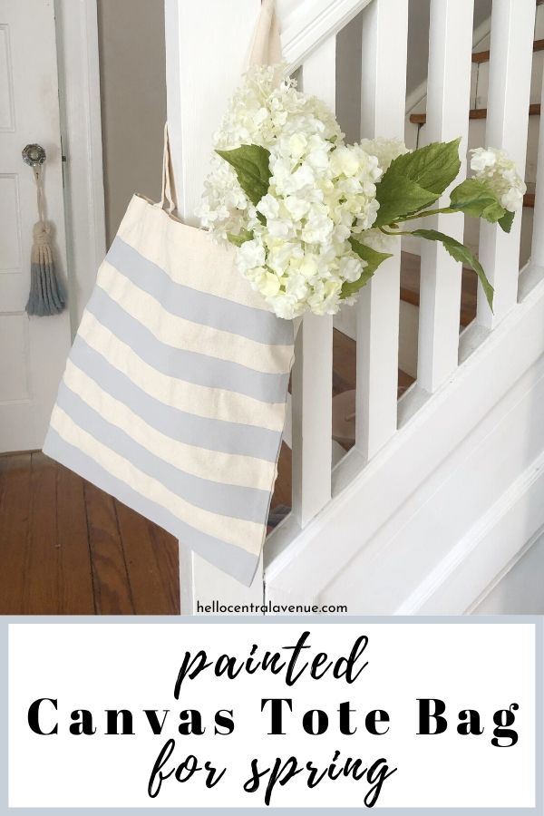 Simple and easy DIY painted canvas tote bags for spring.