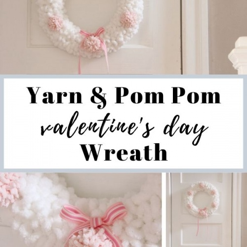 Loopy Yarn & Pom Pom Wreath for Valentine's Day