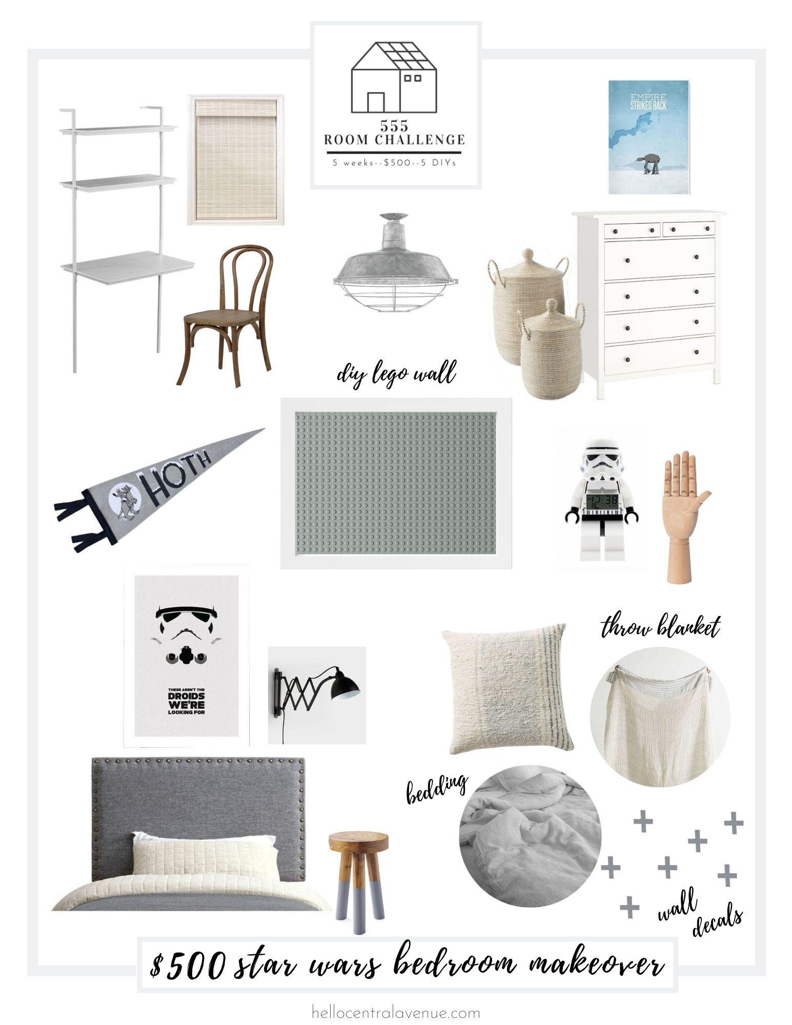 Star Wars bedroom makeover for boys bedroom. 555 Room Challenge=5 weeks, $500, 5 DIYs