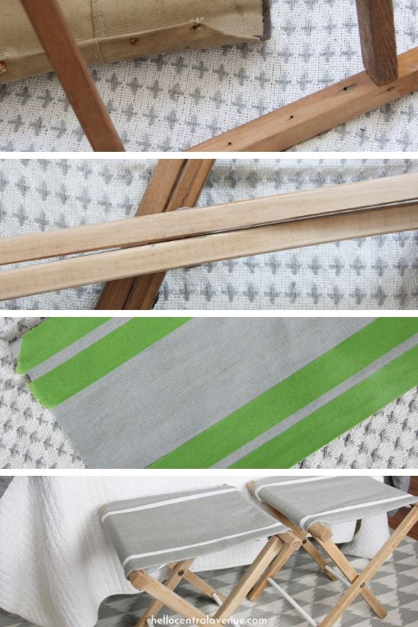 Upcycled folding stools get a new life with a cute DIY seating arrangement.