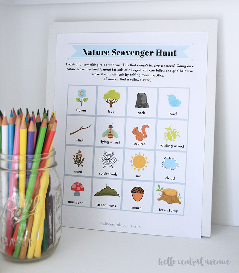 Nature scavenger hunt from the 31 daily activities for kids.