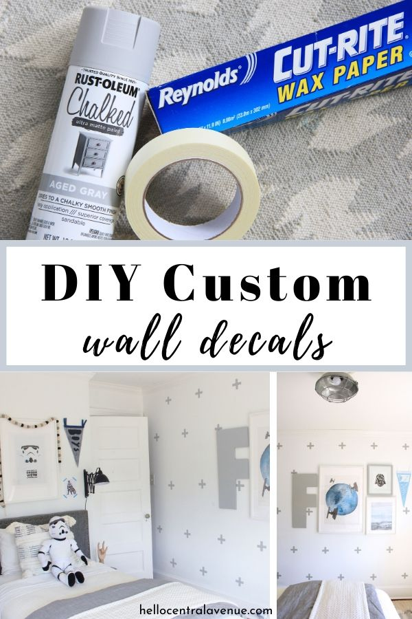 DIY custom wall decals using spray paint and tape