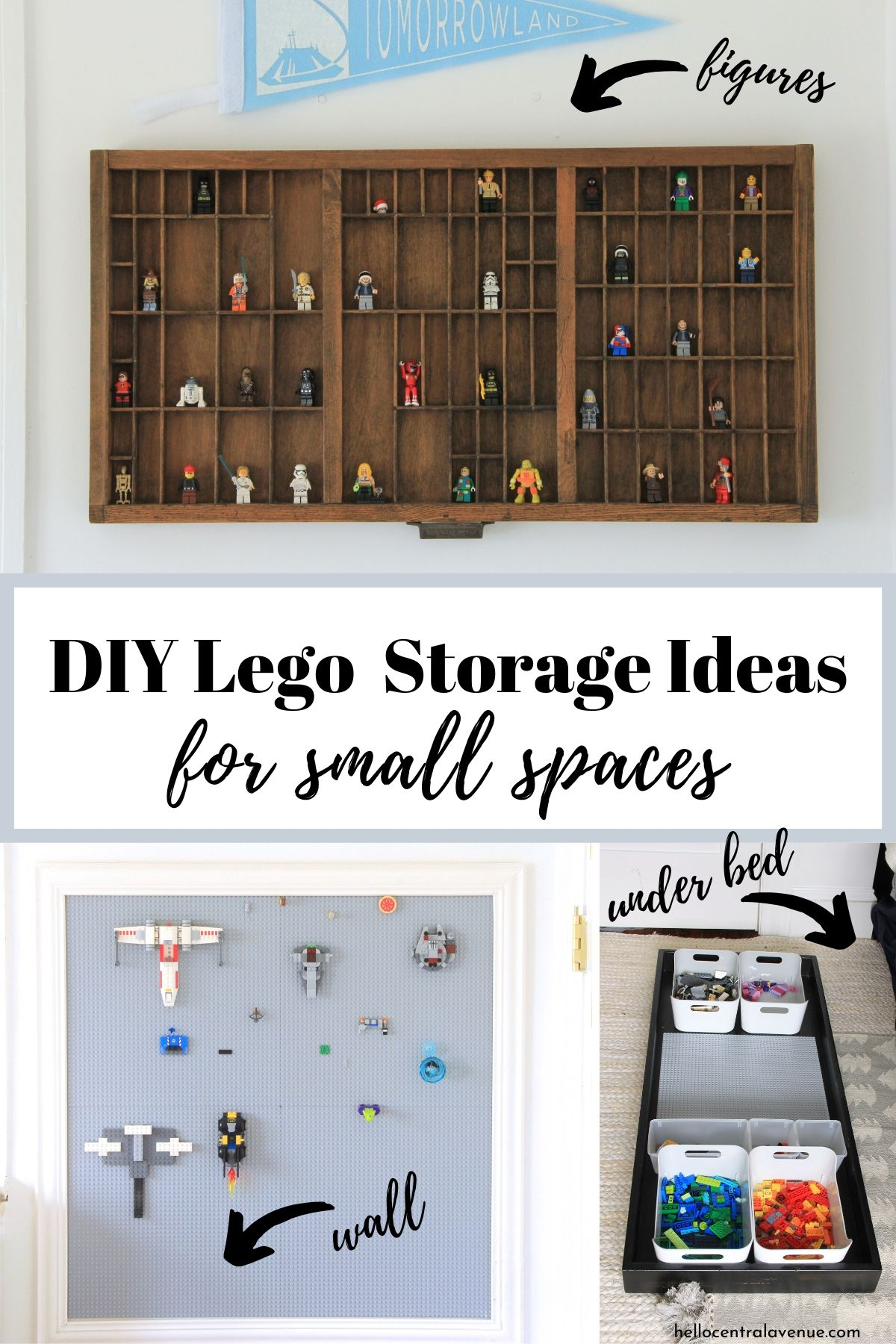 DIY Lego storage ideas for small spaces. Make a Lego wall, display your Lego figures, and store them under your bed.