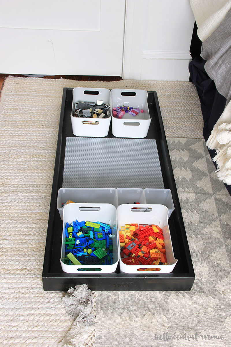 DIY Lego storage by using a dresser topper changing table.