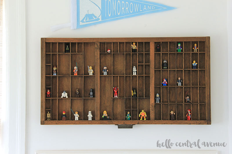 Use a printers drawer for Lego storage and to display your Lego figures.