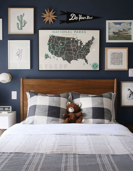 Try using pennant flags for kids wall decor.