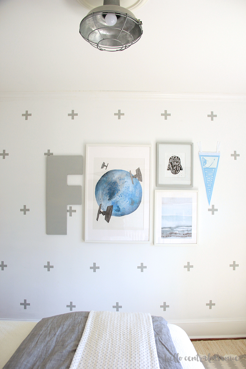 DIY Star Wars Art wall is an easy and inexpensive way to fill a blank wall in my son's bedroom.