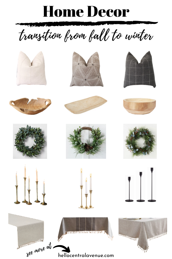 Home decor accessories that transition from fall decor to winter decor.
