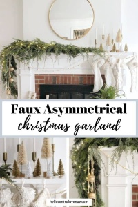 Asymmetrical Christmas garland to decorate you mantel for Christmas.