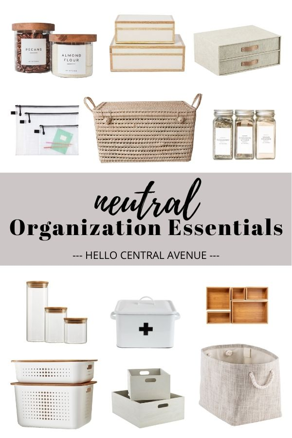Neutral organizing essentials for bathroom organization, pantry organization, and storage